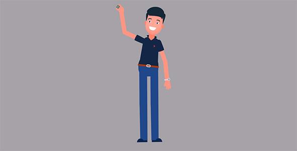 موشن گرافیک کاراکتر انسان و حرکت دست