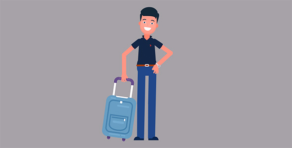موشن گرافیک کاراکتر انسان و چمدان سفر