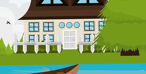 وکتور کارتونی خانه و رودخانه با قایق