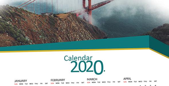 فایل لایه باز تقویم میلادی سال 2020