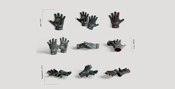 فایل لایه باز موکاپ مجموعه دستکش تمرین