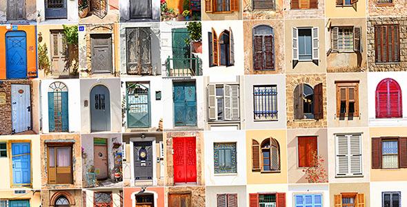 تصویر درب و پنجره قدیمی رنگی