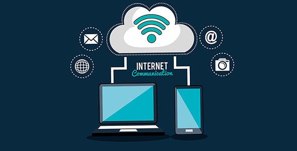 وکتور آیکون ارتباطات اینترنتی و خدمات ابری