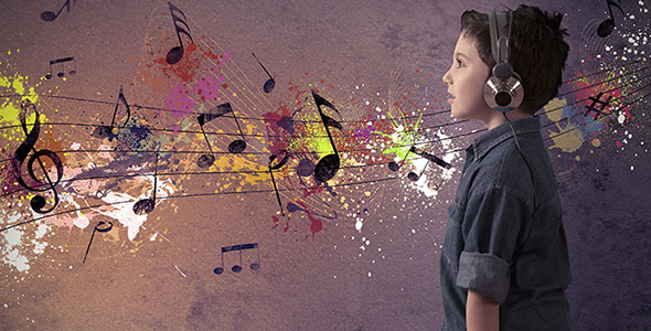 تصویر مفهومی پسر بچه و موسیقی