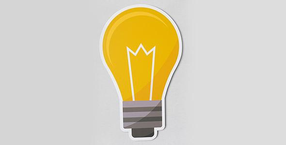 فایل لایه باز موکاپ لامپ روشن و ایده خلاق