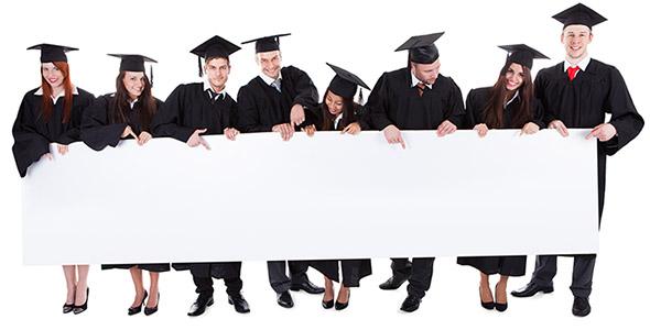 تصویر دانشجویان فارغ التحصیل و بنر خالی