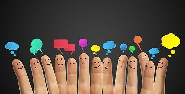 تصویر انگشت دست انسان با افکار مختلف