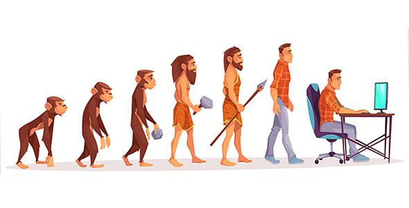 وکتور سیر تکامل انسان و برنامه نویس