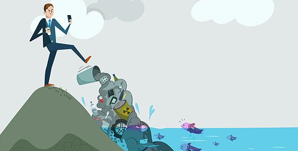 وکتور با مفهوم آلودگی محیط زیست و دریا