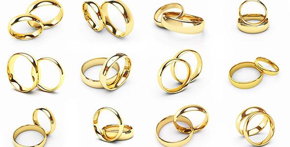 تصویر مجموعه حلقه ازدواج طلایی