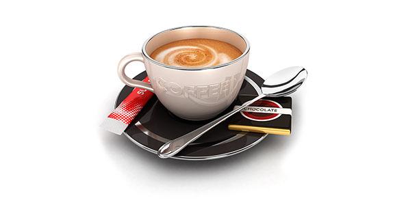 تصویر 3D فنجان قهوه با شکر و قاشق