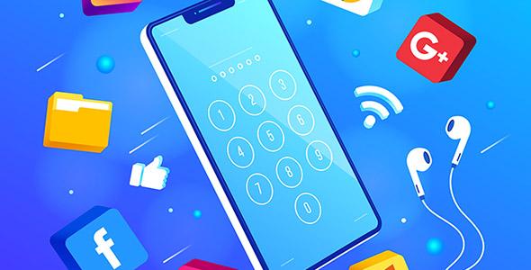 وکتور ایزومتریک با مفهوم موبایل و امنیت