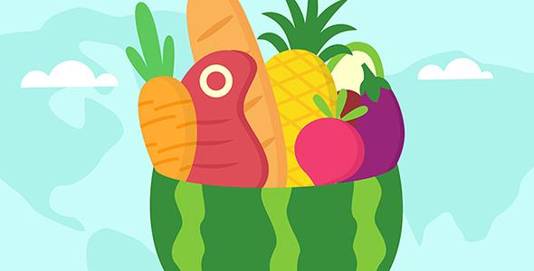وکتور روز جهانی غذا با طراحی فلت