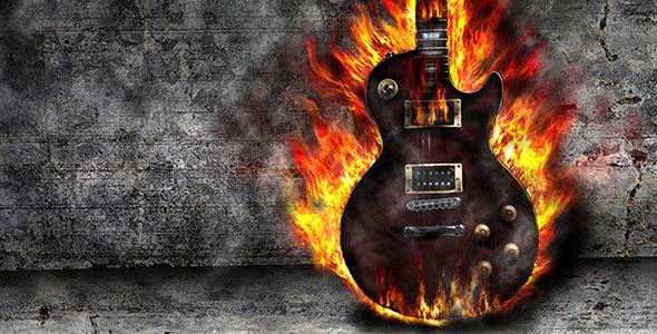 تصویر گیتار آتش گرفته در اتاق قدیمی