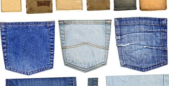 تصویر انواع برچسب و جیب شلوار جین