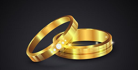 وکتور واقع گرایانه حلقه ازدواج و عروسی طلایی