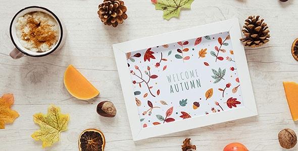 فایل لایه باز موکاپ فصل پاییز و شکلات داغ