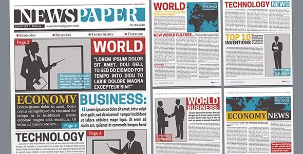 وکتور طراحی واقع گرایانه قالب روزنامه