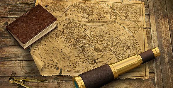 تصویر پس زمینه نقشه قدیمی و دوربین
