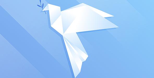 وکتور اوریگامی کبوتر روز جهانی صلح