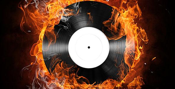 تصویر با مفهوم آتش و ضبط موسیقی