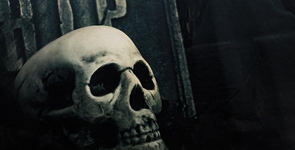 تصویر اسکلت و جمجمه شب در قبرستان