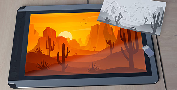 فایل لایه باز نقاشی دیجیتال با تبلت