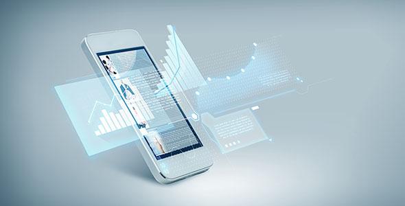 تصویر موبایل با مفهوم پیشرفت در فناوری
