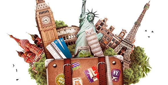 تصویر با مفهوم چمدان سفر و جهانگردی