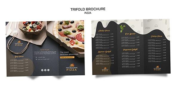 فایل لایه باز بروشور سه تیکه و لوگو پیتزا