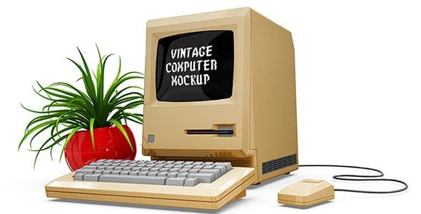فایل لایه باز موکاپ آیکون کامپیوتر قدیمی