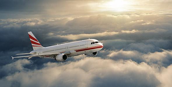 تصویر هواپیما در غروب آفتاب و آسمان