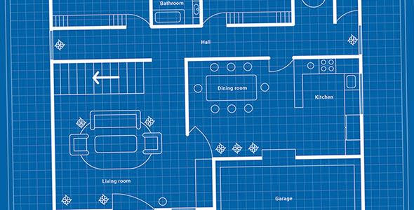وکتور طرح نقشه خانه با جزئیات
