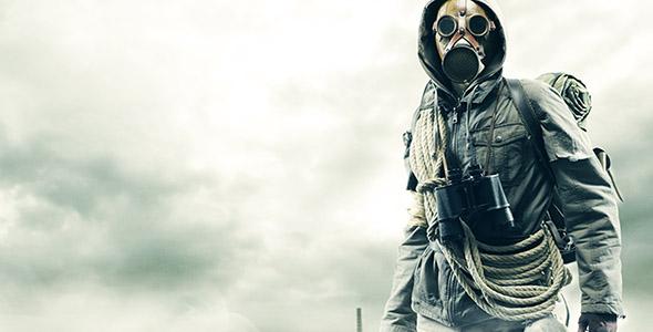 تصویر با مفهوم ماسک گاز و آخر الزمان