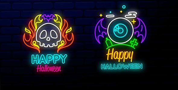 وکتور نئون مجموعه عناصر هالووین