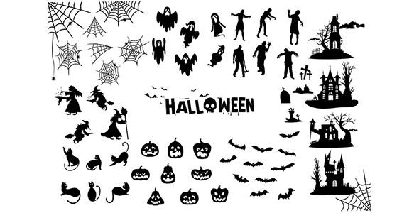 وکتور ضد نور مجموعه عناصر هالووین