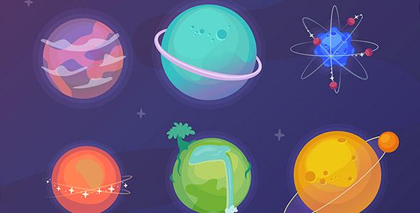 وکتور دست کشیده مجموعه سیاره