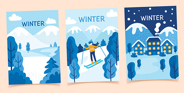 hand-drawn-winter-poster-collection