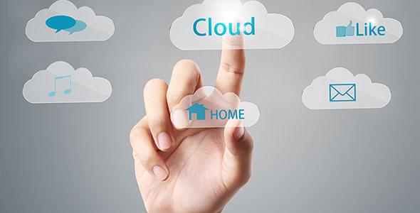تصویر دست انسان و خدمات ابری