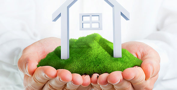 تصویر دست انسان و خانه در تپه سبز