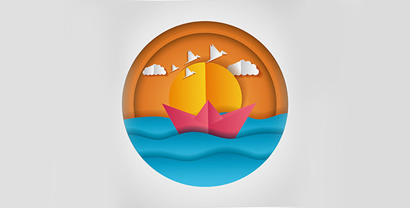 وکتور طرح اوریگامی منظره قایق در دریا