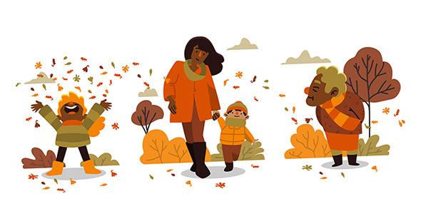 وکتور مردم در پارک و فصل پاییز