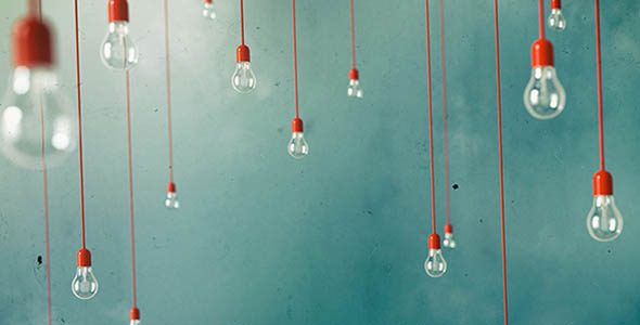 تصویر لامپ های آویزان با مفهوم تکنولوژی