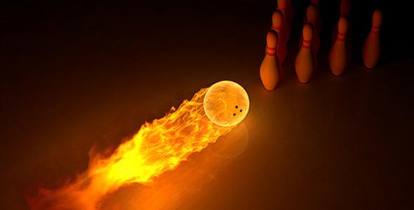 تصویر توپ آتشی با مفهوم بازی بولینگ