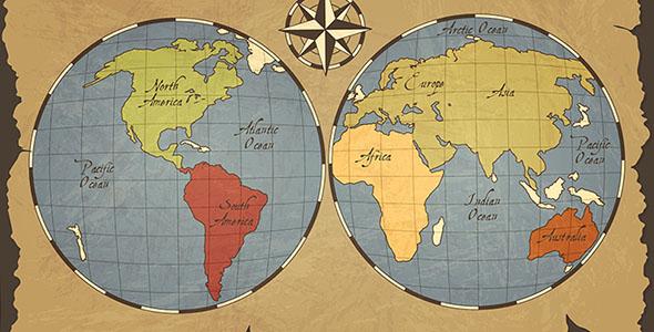 وکتور نقشه قدیمی جهان
