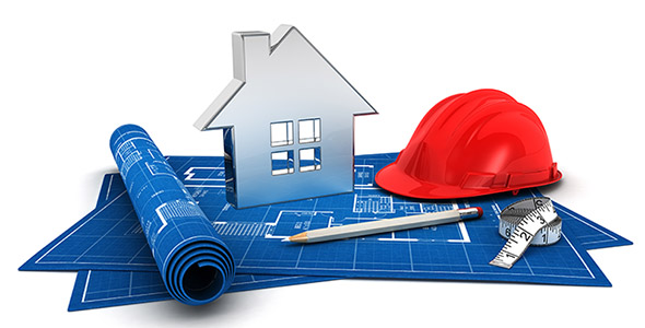 تصویر 3D کلاه و نقشه با مفهوم خانه و معماری