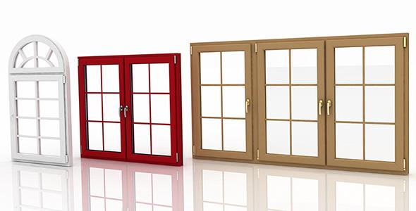 تصویر سه بعدی مجموعه پنجره بسته