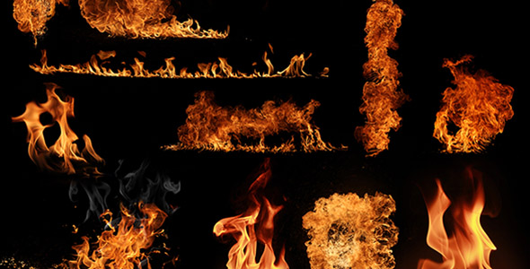 تصویر مجموعه شعله های بزرگ آتش