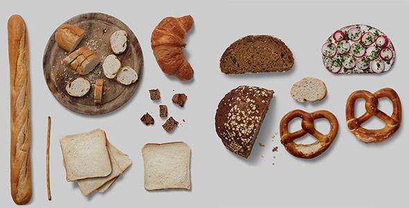 فایل لایه باز انواع نان و غلات
