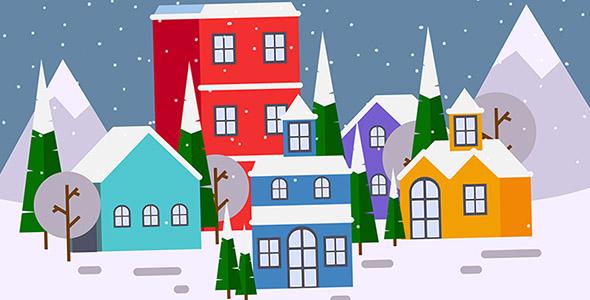 وکتور شهر در شب برفی و کریسمس